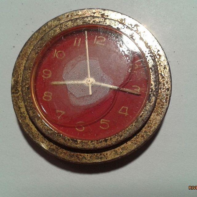 """Uhr vergoldet """"viertel nach acht"""""""